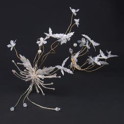Bridal jewelry beaded headdress white wedding headdress hand