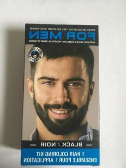 Lot of 3 Brush-In Facial Hair Color Gel Kits for Men Black C