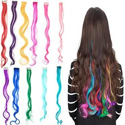 """DODOING 22"""" Curly Colored Party Highlight in Hair Extensions"""