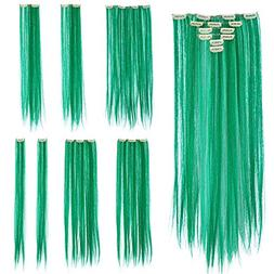 SWACC 7 Pcs Full Head Party Highlights Clip on in Hair Exten