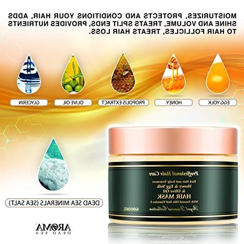 Aroma Premium - Honey Yolk Olive Dry Hair Mask – Natural Scalp Root Ends – & Dead – Moisturizes &