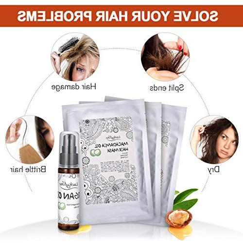 Hair Treatment Kit, LuckyFine Argan Hair Treatment for Damaged Deep Conditioner Repair Mask Hair, Nourishing Masks + Argan Oil