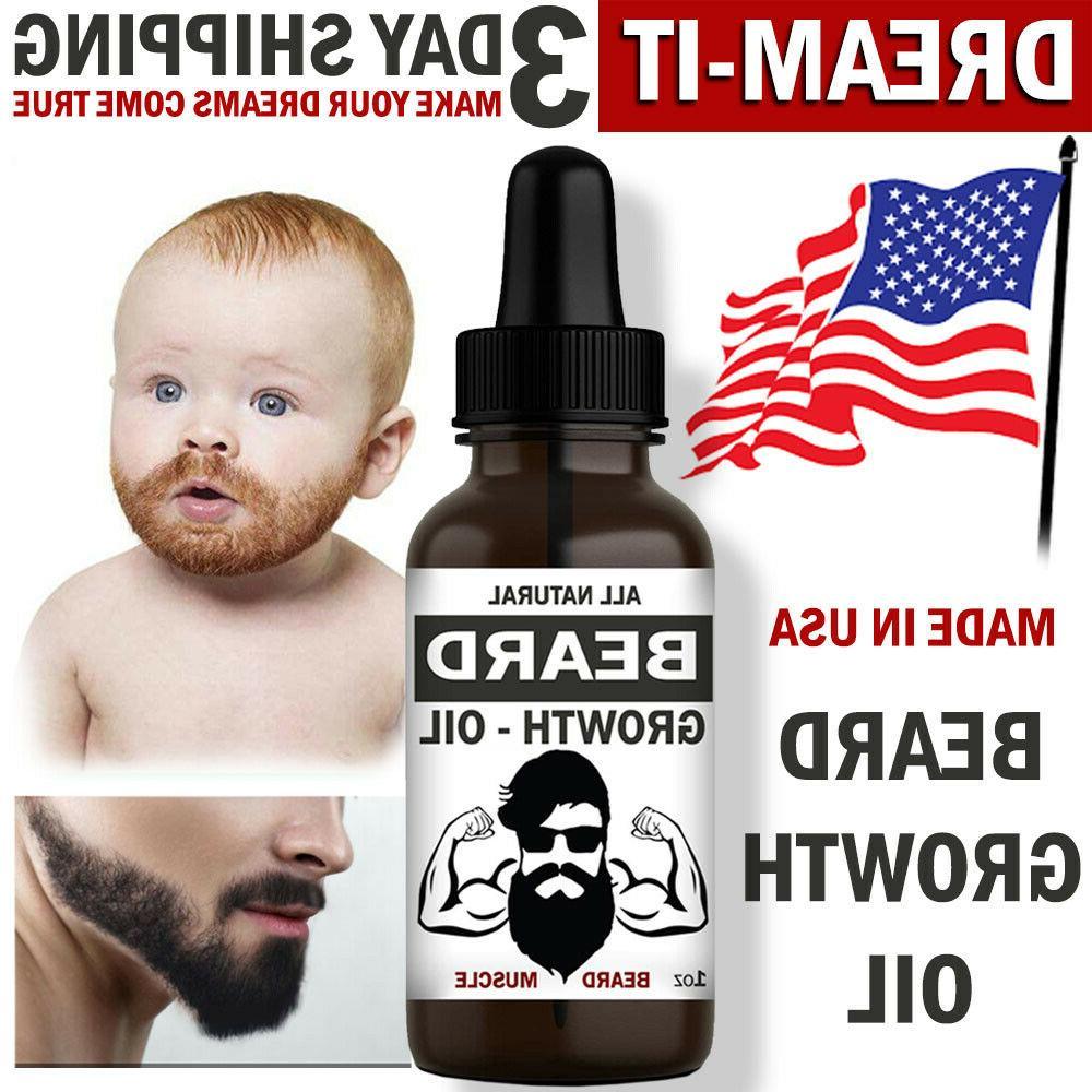 Beard Growth Oil Facial Serum Mustache Grooming Hair Loss Tr