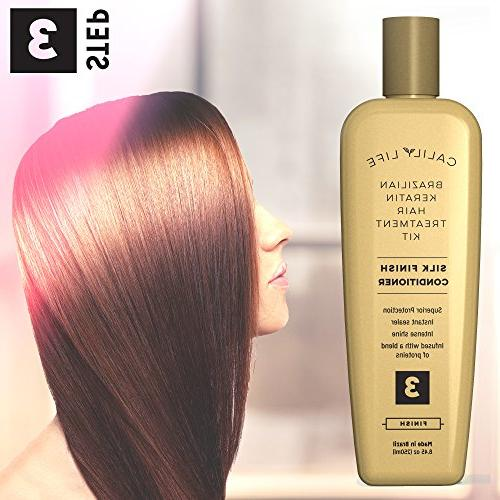 Brazilian Keratin Hair Treatment Set by Professional Grade Kit Includes Clarifying Formaldehyde Free and Finnish Conditioner - 3 Step