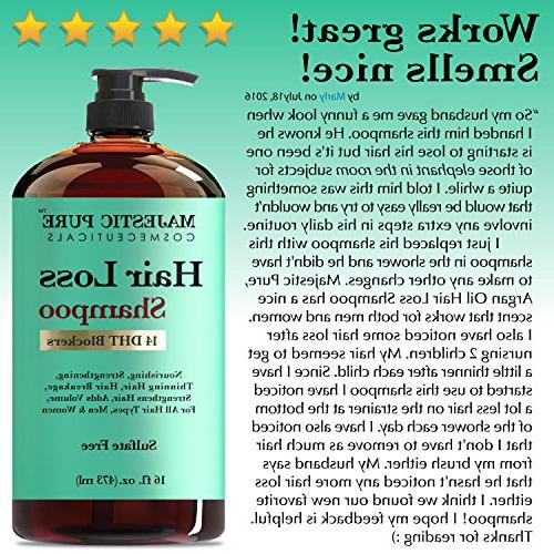 Majestic Pure Shampoo, Natural Based Solution, Add Volume and Strengthen Hair, Sulfate Free, 14 DHT Blockers, Women
