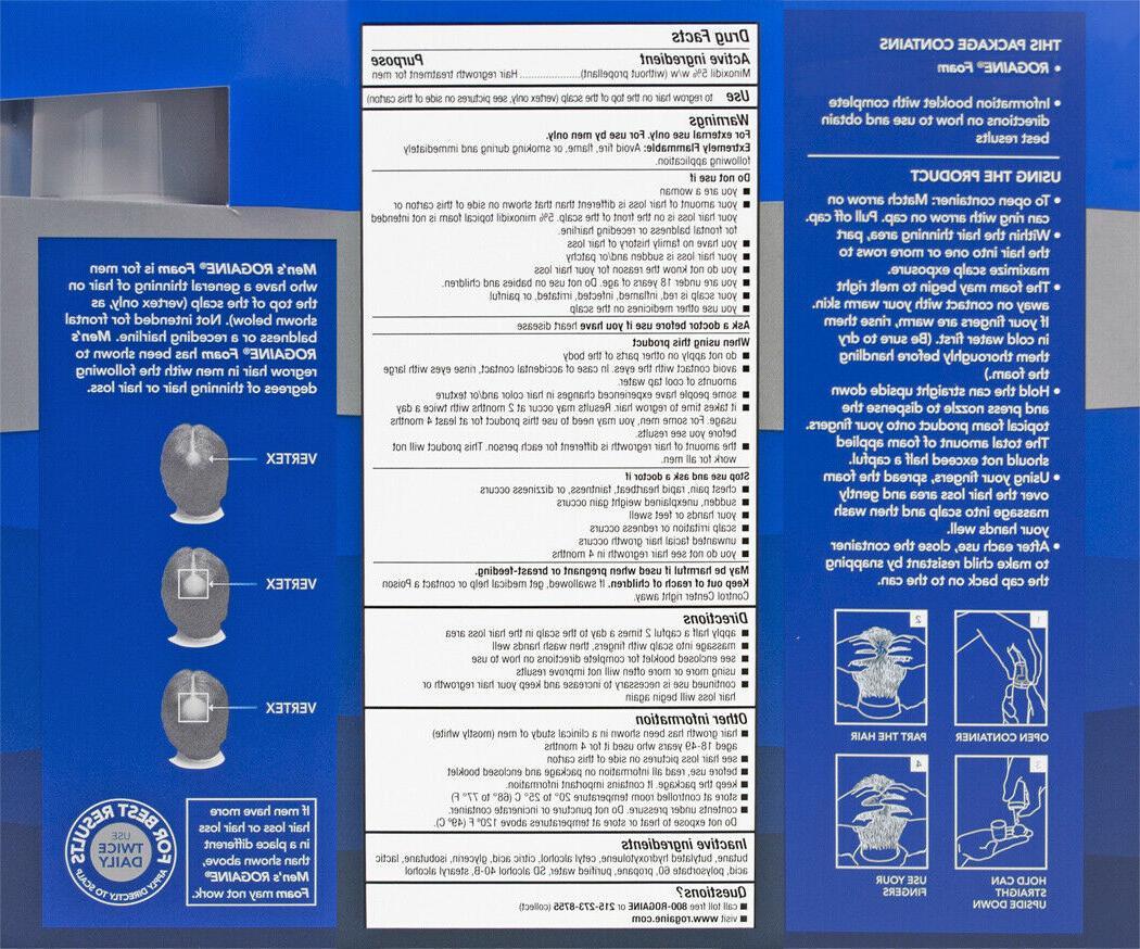 Mens Rogaine Minoxidil Hair Treatment Foam - 2, Months Supply