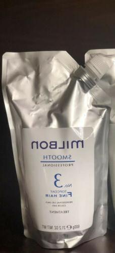 MILBON Pro Smooth Hair Treatment No,1  & No, 3 Fine Hair, 60