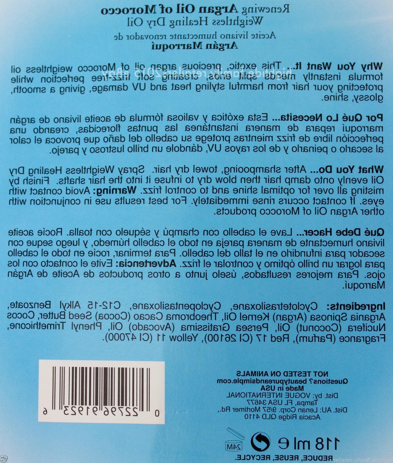 Premium Morocco Argan Spray Leave-In Dry Hair 4 FL OZ USA