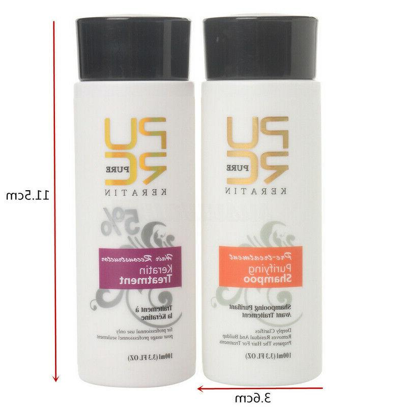 Pure Brazilian Keratin Straightening Treatment Blow Dry Shampoo Kit