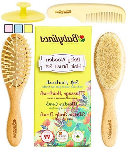 wooden hair brush set