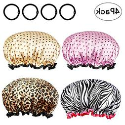 Shower Cap Metable 4 Pack Double Layer Lined Satin Waterproo