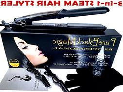 Steam Ceramic Hair Straightener Flat Iron - Professional Hai