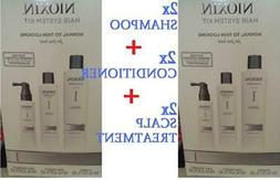 TWO Nioxin System 1 KITS CLEANSER + SCALP THERAPY + TREATMEN