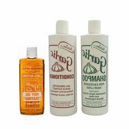 Nutrine Unscented Garlic Shampoo 16oz + Conditioner 16oz + H