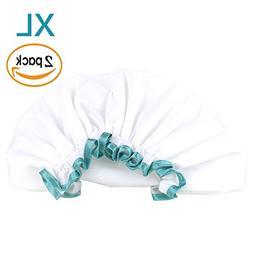 White Shower Cap for Long Hair 2 Pack, Waterproof Mold Resis