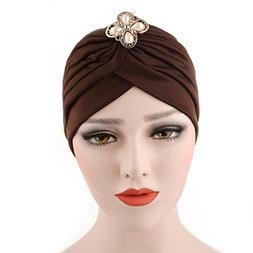 Qingfan Women Girl Diamonds Cancer Chemo Hat Beanie Turban H